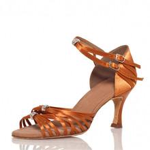 Customized Heels Women's Dance Shoes Latin Satin Flared Heel Brown
