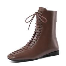 Qutaa 2020 Retro Square Toe Square Tumit Rendah Musim Semi Musim Gugur Sepatu Fashion Renda Zipper Wanita Semata Kaki Hitam Coklat ukuran 34-39(China)