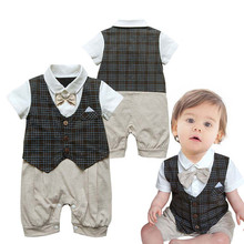 2016 Summer Baby Clothing Children Gentleman Short Sleeves Clothes Boys Bodysuits Baby Wear Kids Clothes 3pieces/lot(China (Mainland))