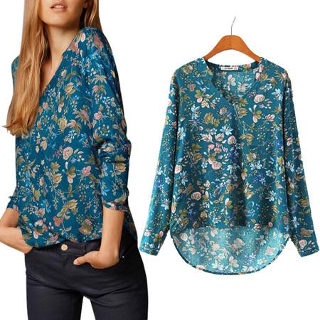 2015 Limited Women Print V-NECK Blouse Long-sleeve Top Shirt Lady Casual Shirt New blusas femininas chiffon(China (Mainland))