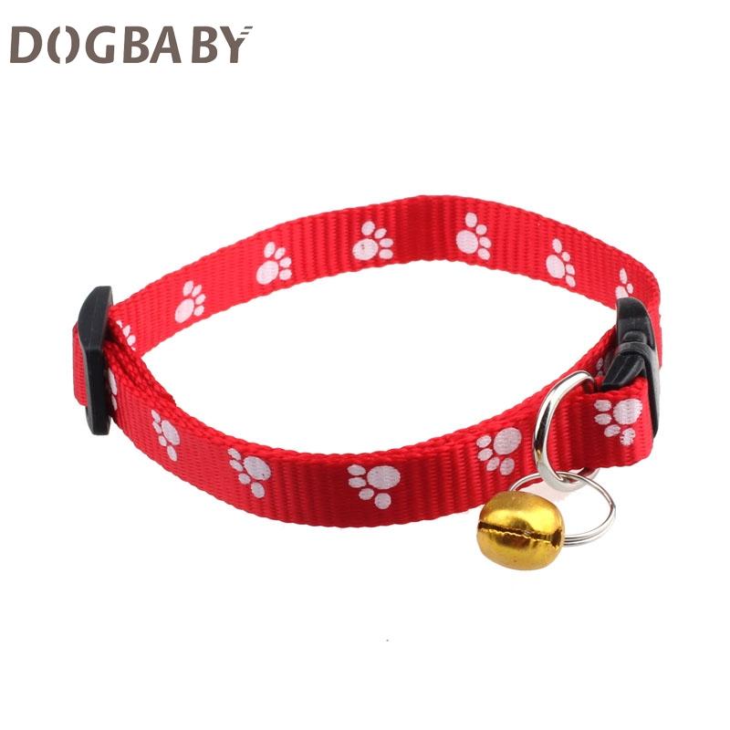 Adjustable Nylon Footprints Collar Dog Puppy Pet Collars With Bells Collar del animal domestico Hot 17Mar23(China (Mainland))
