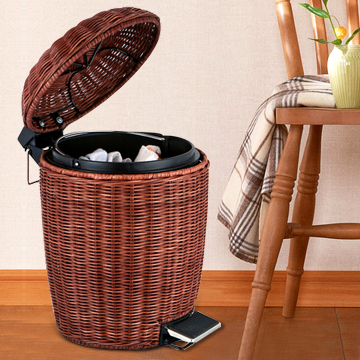 Fashion creative rattan basket with a lid garbage bins foot home kitchen wastebasket trash - Wicker trash basket ...