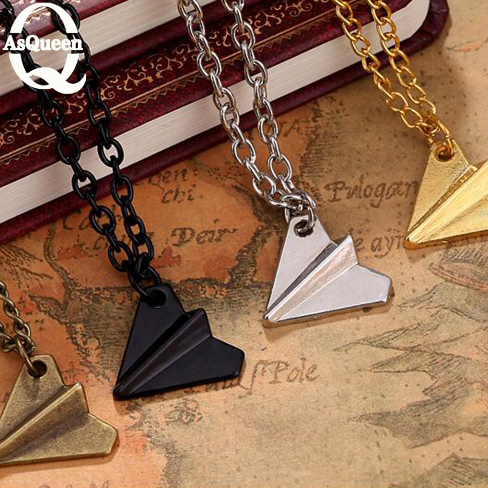 One Direction Band Harry Styles Gold Paper Airplane Pendant Necklace Men Women Jewelry Chain Collares Choker Necklaces(China (Mainland))