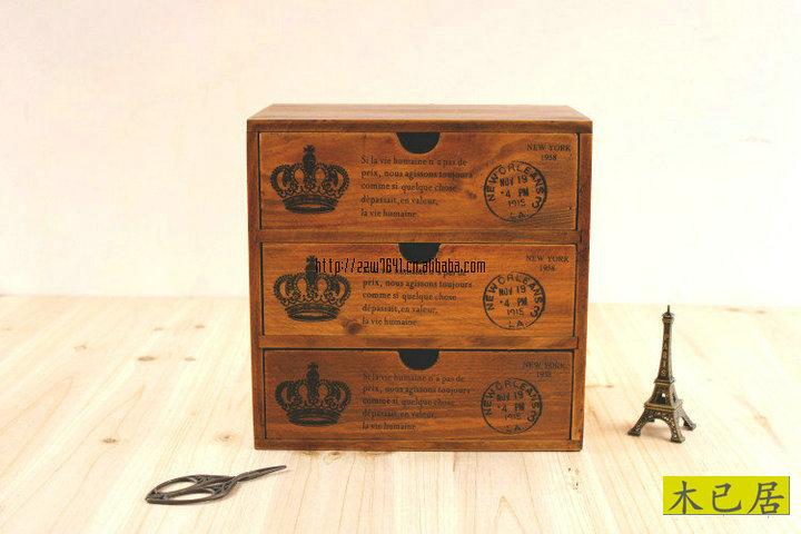 For za kka vintage storage cabinet wood finishing scorners retro drawer cabinet storage box 24*24*16(China (Mainland))