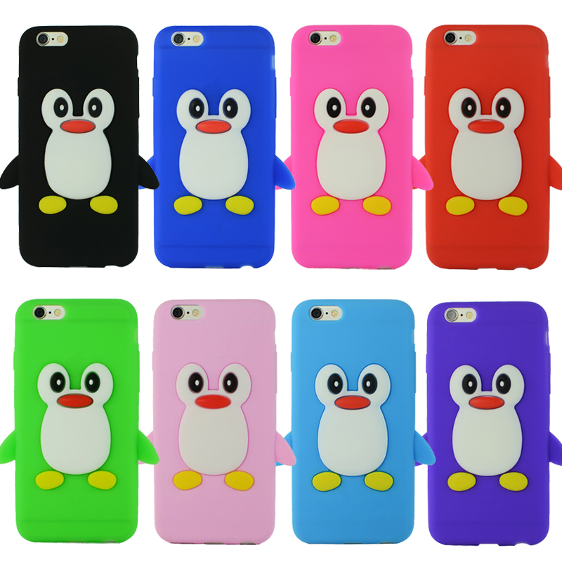 Popular 3D Cute Cartoon Penguin Soft Silicone Rubber Case Cover For Copue Apple iphone 6 6S 4.7 inch phone cases(China (Mainland))