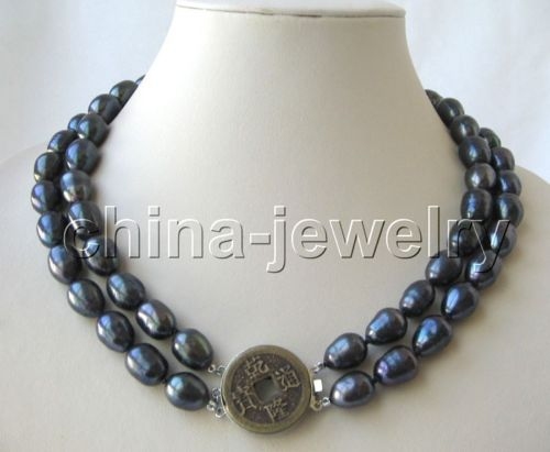 FREE shipping&gt; &gt;&gt;&gt; Beautiful 2row19-20 13mm black baroque freshwater pearl necklace<br><br>Aliexpress