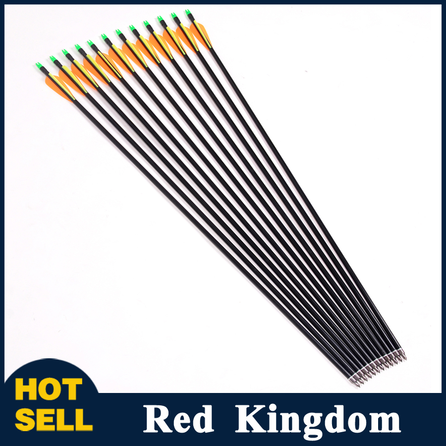 12pcs pack Fiberglass Arrow Spine 500 Replace Arrowhead Nock Proof For Hunting Compound Bow Recurve Bow