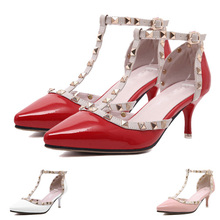 Women Heels Sandals 2015 Pointed Toe Summer Style Ladies Shoes Women Pumps Valentine Shoes Rivets Ladies High Heels Women Shoes(China (Mainland))