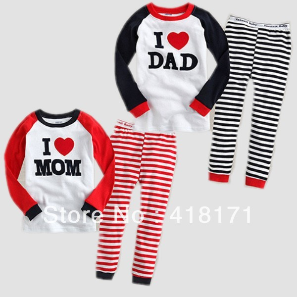 Baby wear sets 100% cotton baby long sleeve pajamas underwear clothing sets I love MOM I love DAD kids 2pcs nightgown sets