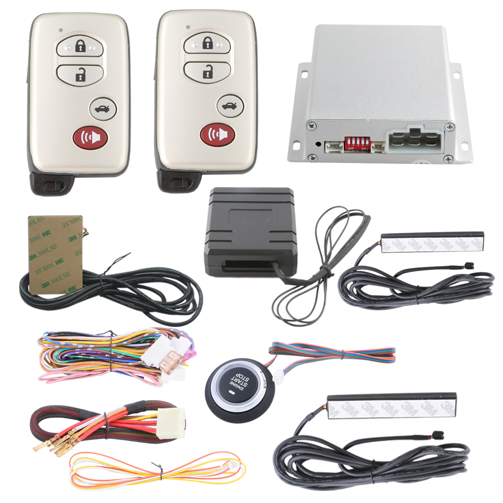 car alarm system with auto start push button start PKE car alarm system automatically owner identify with bypass module(China (Mainland))