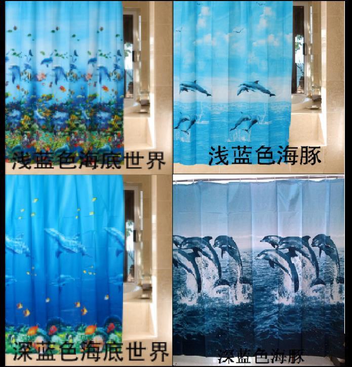 High Quality Eva Bath Shower Curtain Fashion Blue Dolphin Ocean Sea Life Waterproof Bathroom