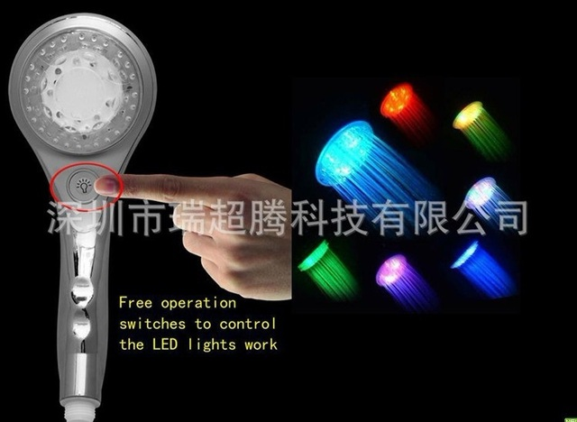 Free shipping 9 LEDs LED Shower Head Sprinkler 7 colors gradually changed showerhead sprinkler With control button self power