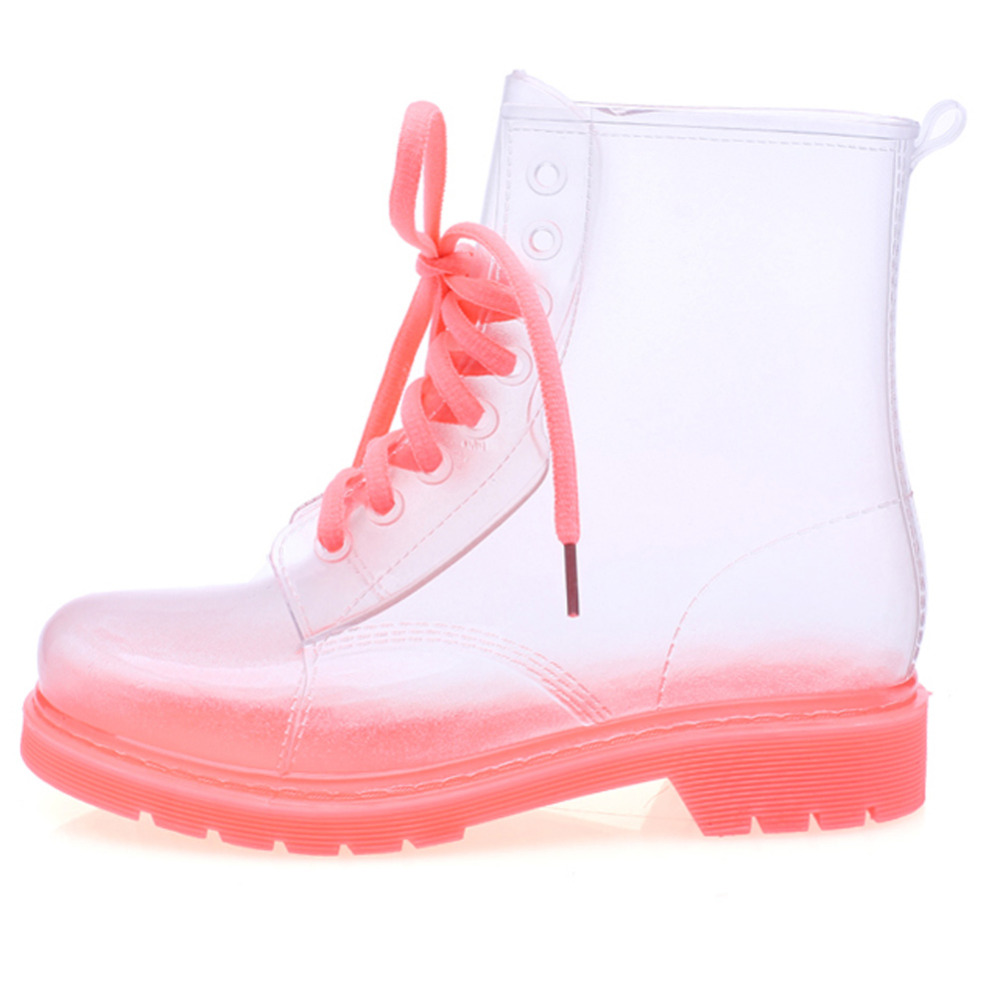 Hot Rain Boots Transparent Women Boots 2016 Fashion Leisure Clear Rain Boots Lace-up Galoshes Martin Boots Jelly Women Shoes<br><br>Aliexpress