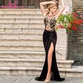 Robe Elegant Trumpet party dress side split black maxi long dresses sexy O neck plus size