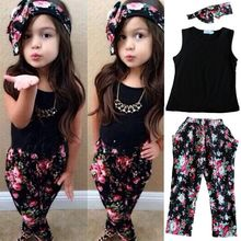 Bear Leader Girls Fashion floral casual suit children clothing set sleeveless outfit headband 2015 summer new