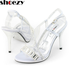SHOEZY brand discount shoes woman silver white satin diamante strappy slingback high heel sandals party wedding pumps for lady(China (Mainland))