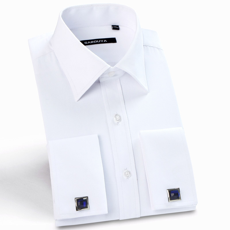 2016 Mens Luxury French Cuff Solid Color Dress Shirts