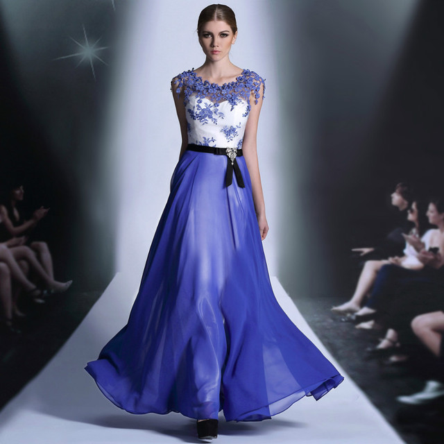 Dorisqueen In stock free shipping lace neck beading Royal blue embroidery floor length long evening dresses 2014 30889