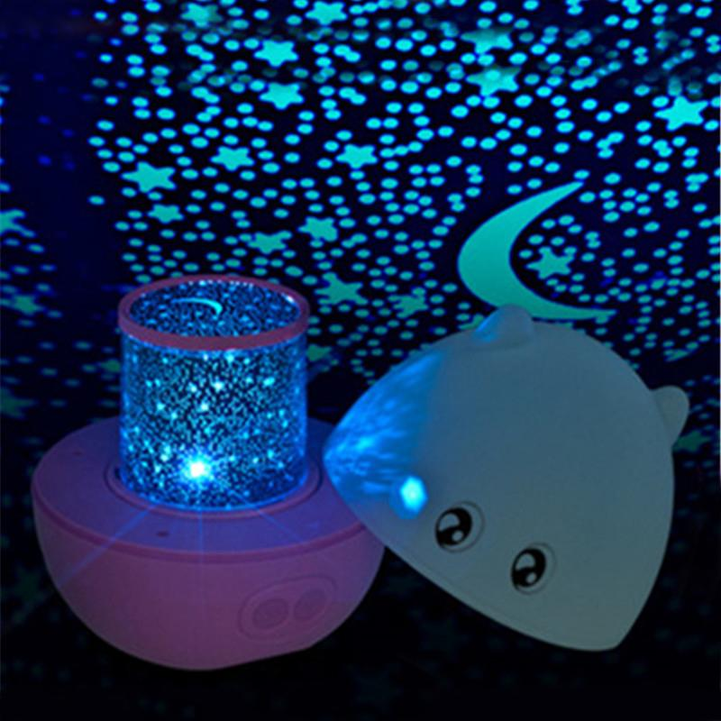 Фотография 2016 new charming pig projection LED USB desk lamps automatic rotation Portable Mini sky Night Light projector, kids gift