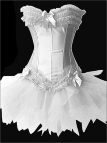 White Burlesque Tutu Fancy Dress Costume Corset Outfit hen night Wedding Bustiers Four Color - Darling Lover Fashion Co., Ltd store