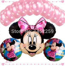 Free shipping 13pcs / lots Foil Balloons Set Minnie children's toys wholesale decorative dot latex balloons birthday party