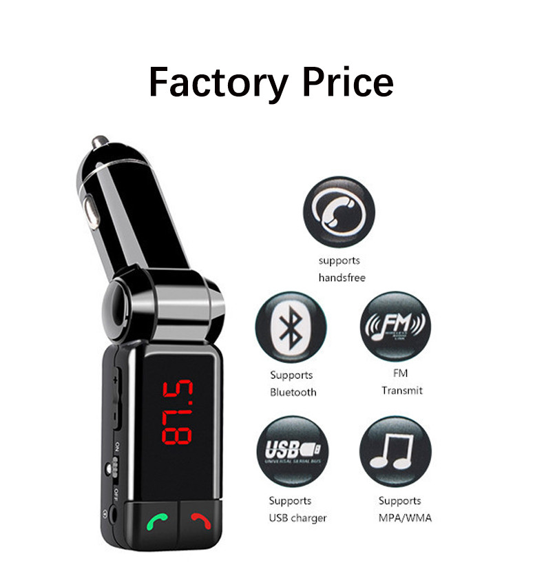 Charger in Car Hands Free Calling Wireless Bluetooth Car Kit Cigarette Lighter Portable Dual USB Auto MP3 FM Transmitter USB(China (Mainland))