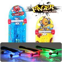 2pcs Mini Light Skateboard Toys Fingerboard Skateboard Tech Boy Kids Children Gifts Kid Toys Creative Toys Vinger Skateboard(China (Mainland))