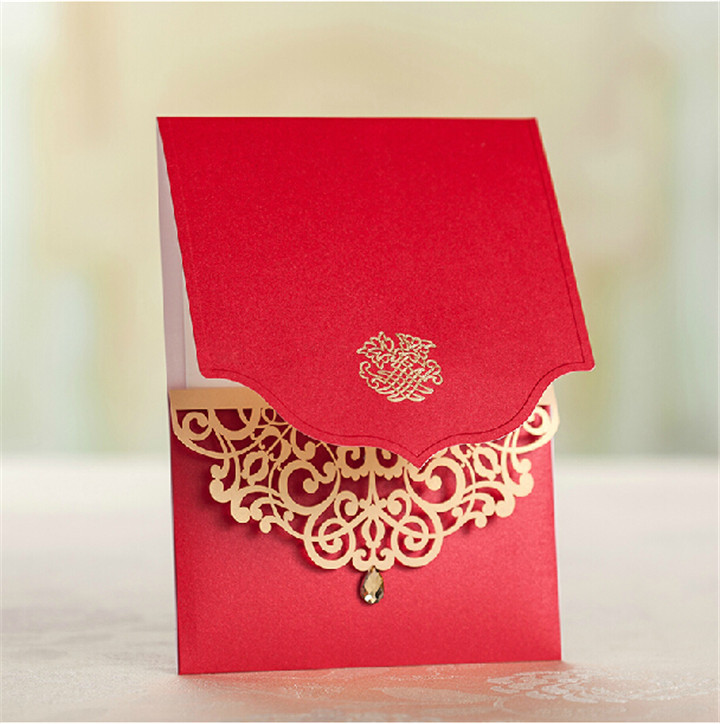 50pcs Lot Latest Indian Wedding Card Design Laser Cut Wedding Invitations Royal Red Invitation