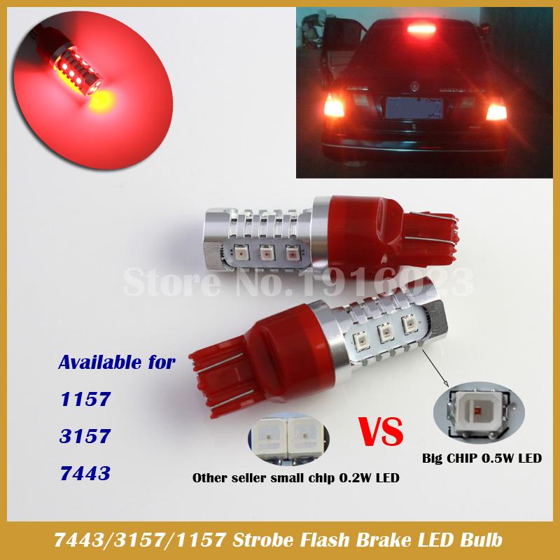 T20 7443 Red LED flashing brake light taillight stop car styling light(China (Mainland))