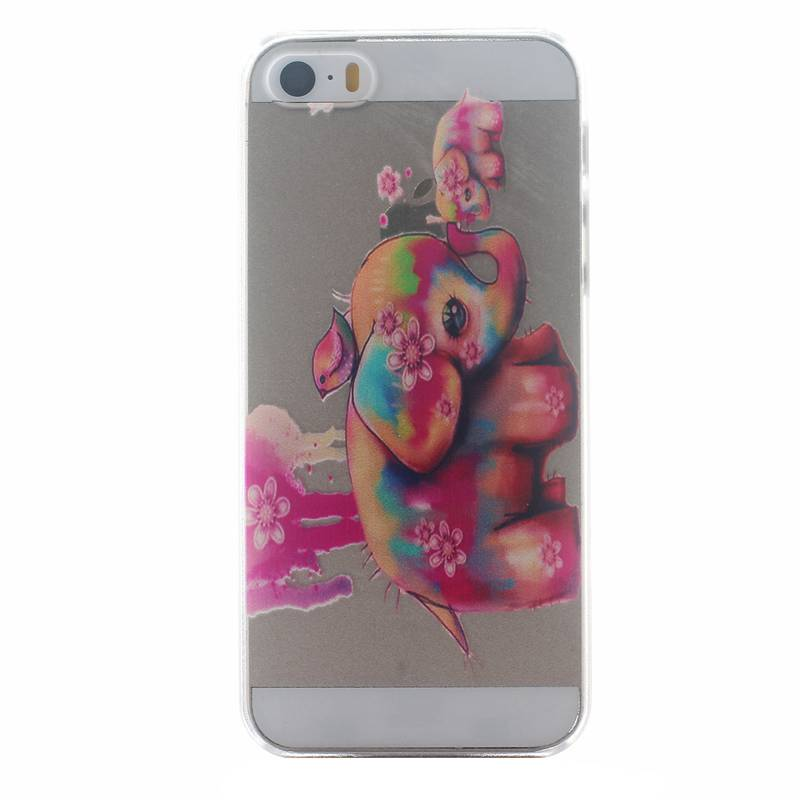 for Apple iPhone 5 5S SE Fashion New Style Cartoon Elephant Flower Feather Dandelion Painting Hard Back Cover Cell Phone Cases(China (Mainland))