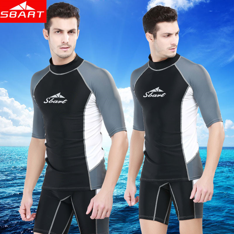 sbart rashguard swim shirts men short sleeve surf lycra