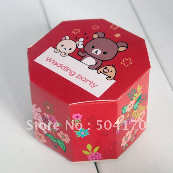Free Shipping! New Arrival! Wedding Favor Boxes Cartoon Red Candies Paper Boxes 200pcs/lot Wholesale 6.5*6.5*5cm CB003<br><br>Aliexpress