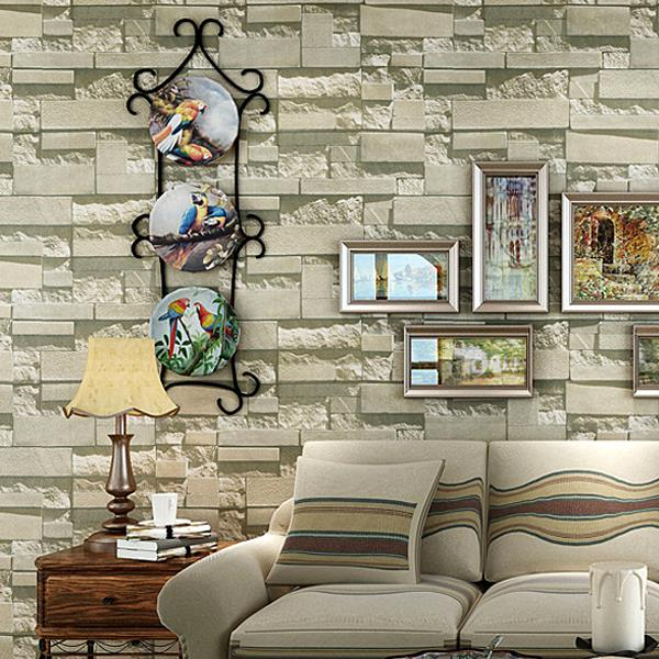 Modern stone brick design style 3d vinyl wallpaper roll for 3d stone wallpaper for living room