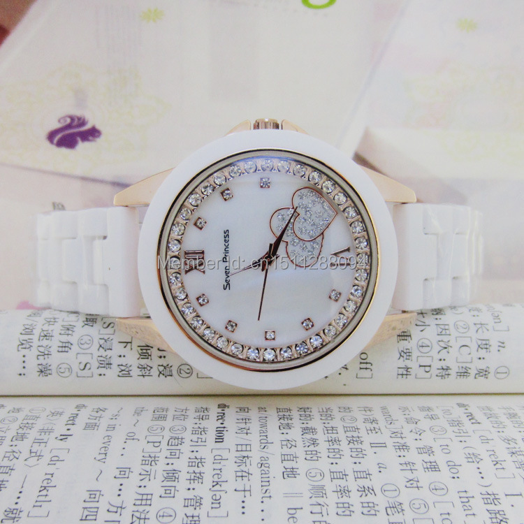 free shipping, New arrival! Women dress watch,The popular foreign trade seven princess ceramic watches storm watch love watches(China (Mainland))
