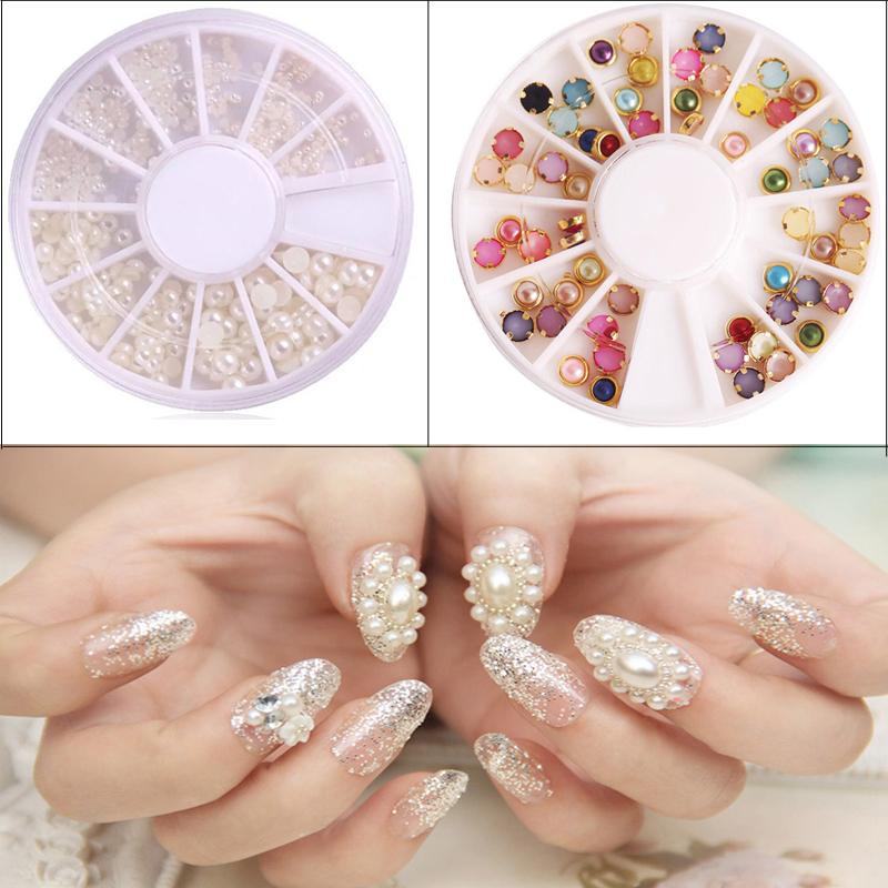 2PCS Imitation Pearls Decorations For Nail Design Glitter 3D Nail Tips Decorations Manicure UV Gel Nail Art Charms Round Wheel(China (Mainland))