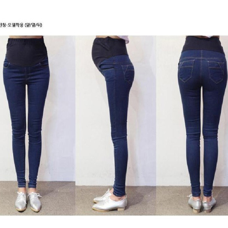 2016 new brand spring and summer elasticity Light color pencil abdominal pants slim pregnant women maternity leggings jeans(China (Mainland))