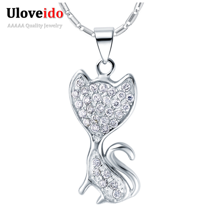 925 Silver Jewelry Fashion Necklaces for Women 2015 Simulated Gemstone Fox Shape Vintage Necklace Bijoux Femme Ulove N656(China (Mainland))