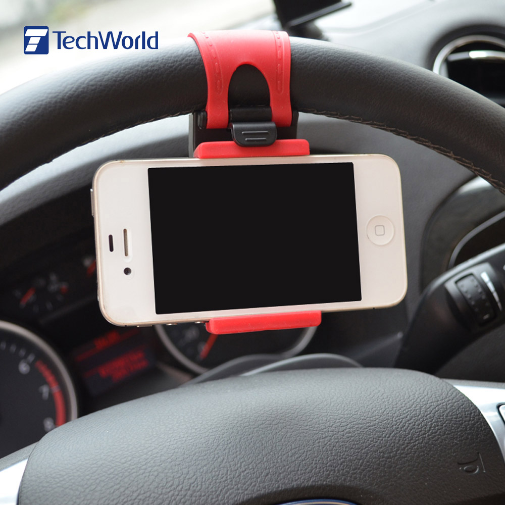 Hot Sales Portable Elastic Car Steering Wheel Phone Holder for iPhone 4S 5 5S 5C Smartphone GPS MP4 PDA Mobile Phone Bracket(China (Mainland))