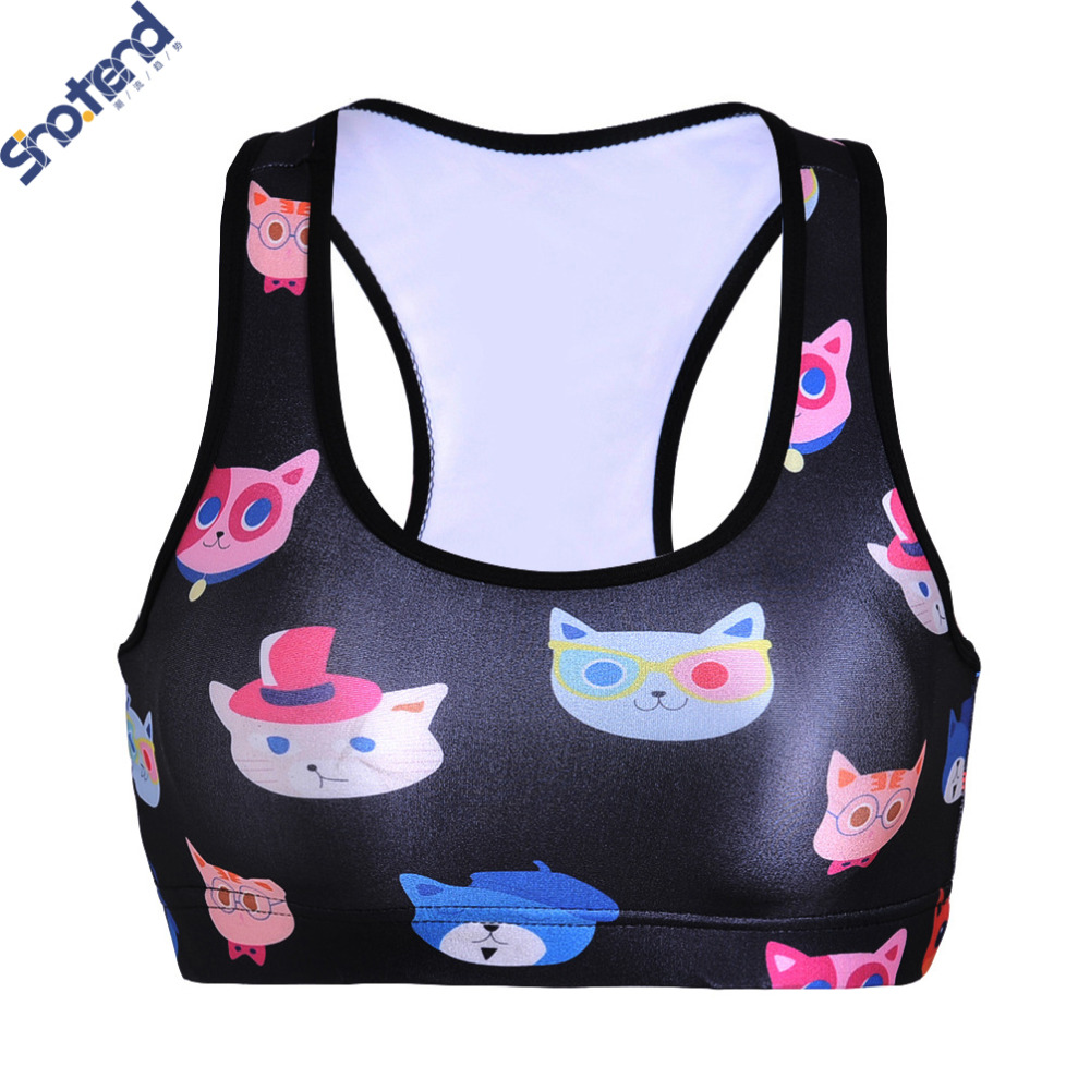 S.T Sweat Kitty Printed Sports Bras Quick Drying Crop Tops Girl Running Vest Wireless Fitness Push Up Bras(China (Mainland))