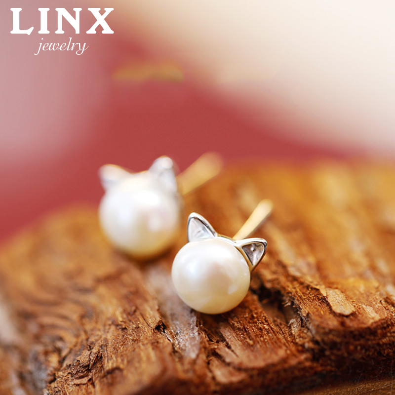 925 Sterling Silver Stud Earrings Pearl Cat Ear Earrings For Women Lovely Girls Christmas Gift Statement Jewelry CY058(China (Mainland))