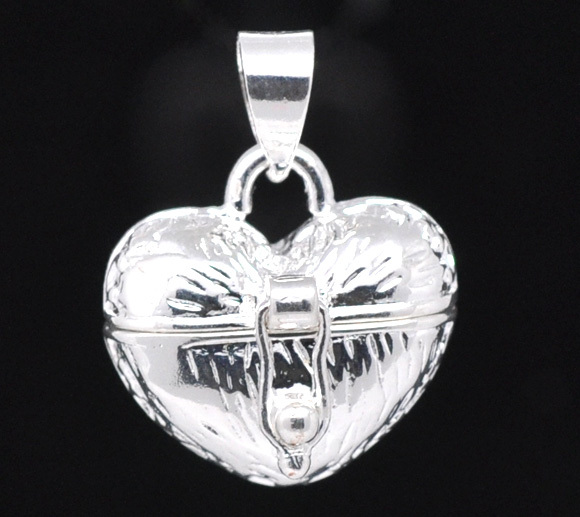 Free Shipping 50pcs Silver Plated Heart Wish Boxes Charm Pendants 23x18mm Jewelry Findings(China (Mainland))