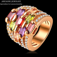 ANFASNI Colorful Zircon Ring Gold Plated Multi-layer Engagement Rings Micro Pave Austrian Crystals Jewelry Free Ship Ri-HQ0215(China (Mainland))