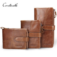 CONTACT'S Retro luxury Genuine Leather Women Men Wallets High Quality Brand Design Zipper Wallet Womens Purses For Card Holder(China (Mainland))