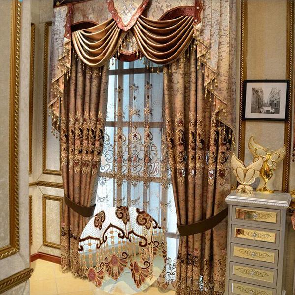 Fancy cortina mantovane ricamo tenda di seta per la sala - Tende sala da pranzo ...