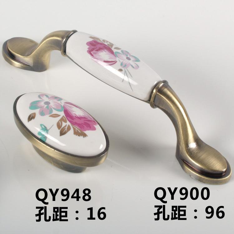 Free shipping!European pastoral ceramic handle / cabinet wardrobe door furniture oval bronze tulip QY(China (Mainland))