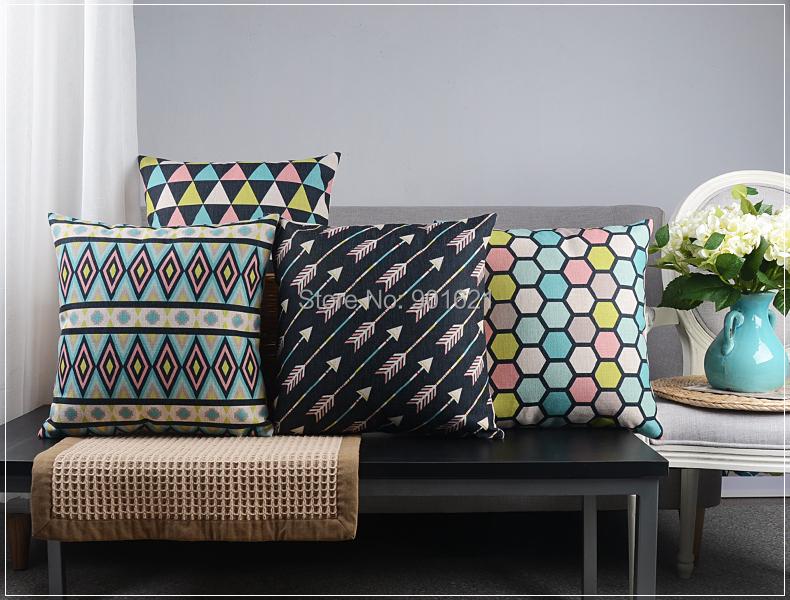 Elegant multicolor geometric triangles arrows diamonds hexagons pattern Cushion Cover home decor throw pillow Case - Joy's Little Shop store