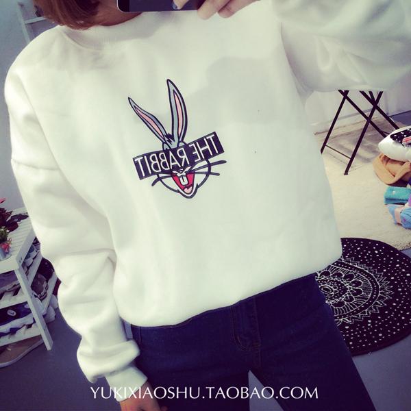 Free Shipping 2015 hot sales New Fasion Women Cartoon rabbit  Sweatshirt Hoodies Tops Outerwear Hoody(China (Mainland))