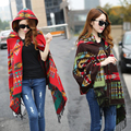 2016 Ladies Warm Winter Hooded Wrap Poncho Wool Blends Soft Cape Mantle Ponchos And Capes Aztec
