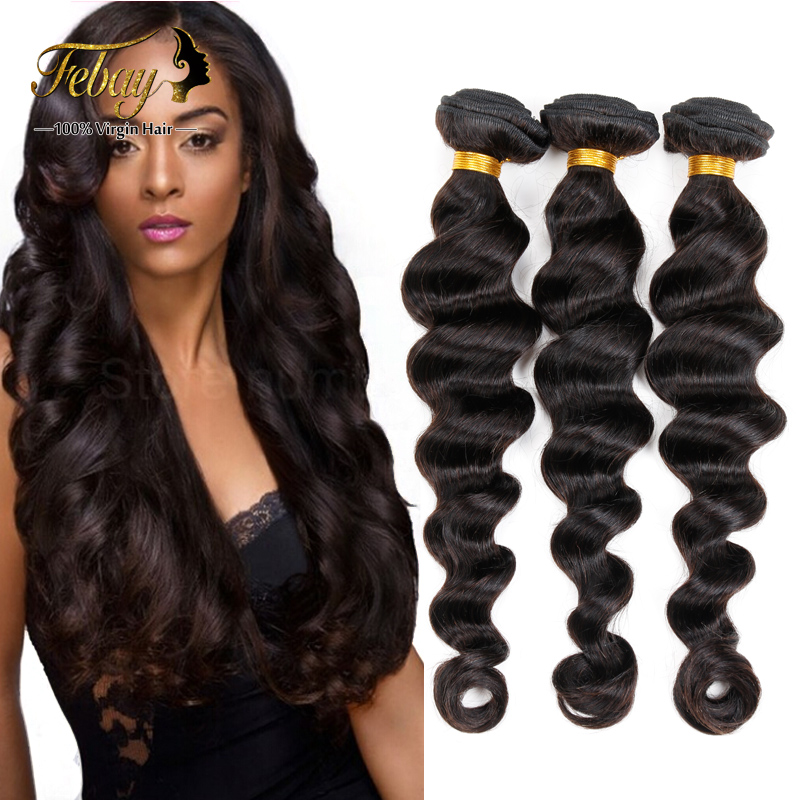 Brazilian Virgin Hair Loose Wave in Human Hair Weave 3pcs/lot Unprocessed 6A+Grade Febay Remy Hair products Free shipping By DHL(China (Mainland))