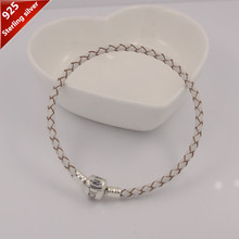 Lowest Price 925 Sterling Silver Clasp Clips charm bracelets white genuine Leather Starter Bracelet women jewelry for pandoras(China (Mainland))